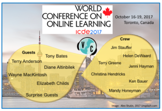 image of Toronto skyline in background, names of people within overlapping speech bubbles
