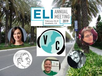 Picture of Anaheim palm trees, with ELI and VC logos, and pictures of guests