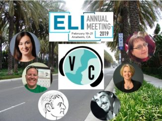 Virtually Connecting at ELI banner - palm trees, ELI and VC logos, participant faces.