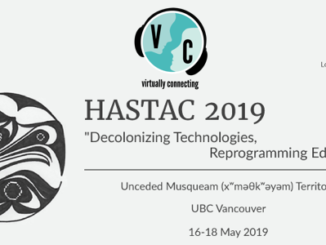 The Virtually Connecting logo sitting on top of a banner for the HASTAC2019 event.