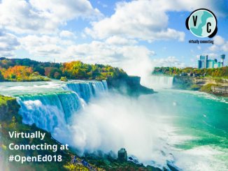 "A view of Niagara Falls over writing with the text ""Virtually Connecting at #OpenEd18"""